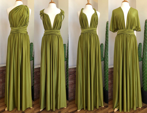 SHIMMER Maxi Convertible Dress - Avocado