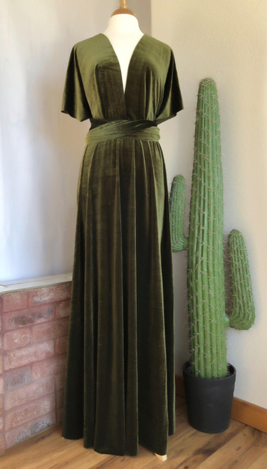 Velvet convertible Dress - Dark Olive