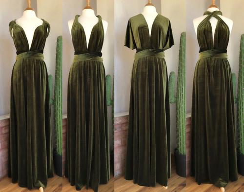 Velvet convertible Dress - Dark Olive