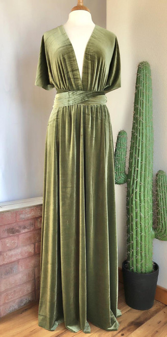 Velvet convertible Dress - Light Olive