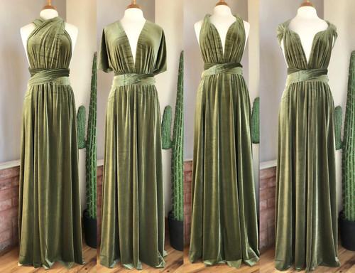 Velvet convertible Dress - Light Olive