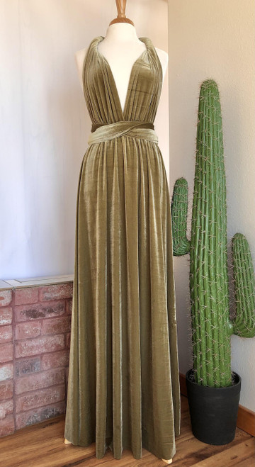 Velvet convertible Dress - Gold