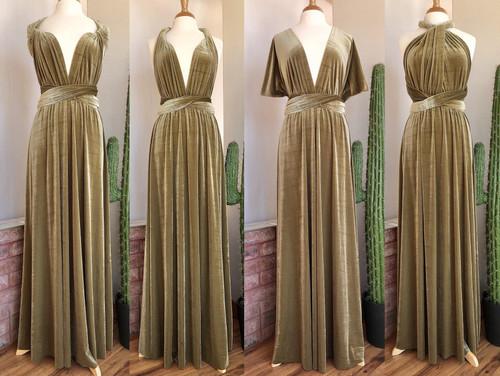 Velvet convertible Dress - Gold