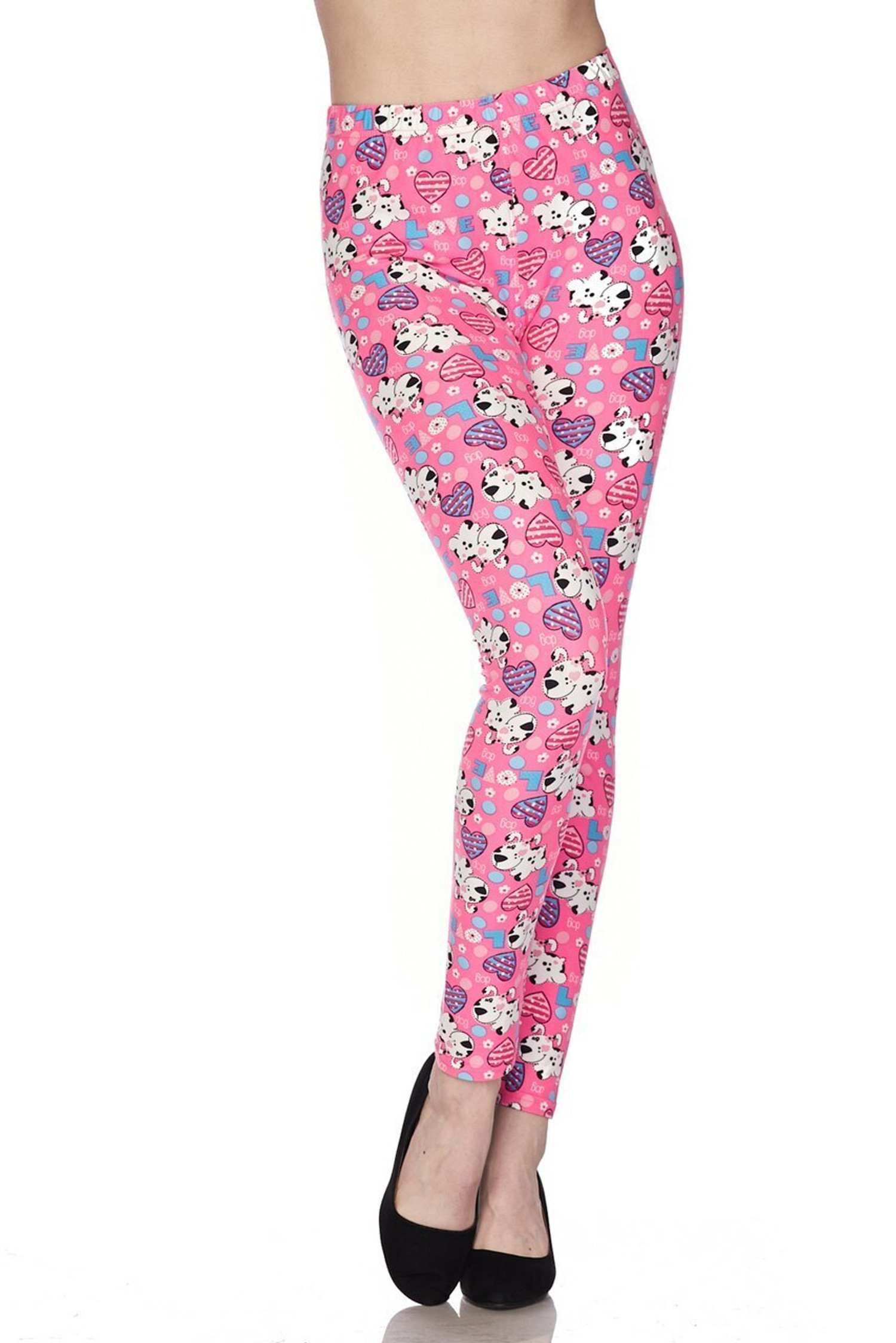 Buttery Soft Pink Puppy Dogs Plus Size Leggings