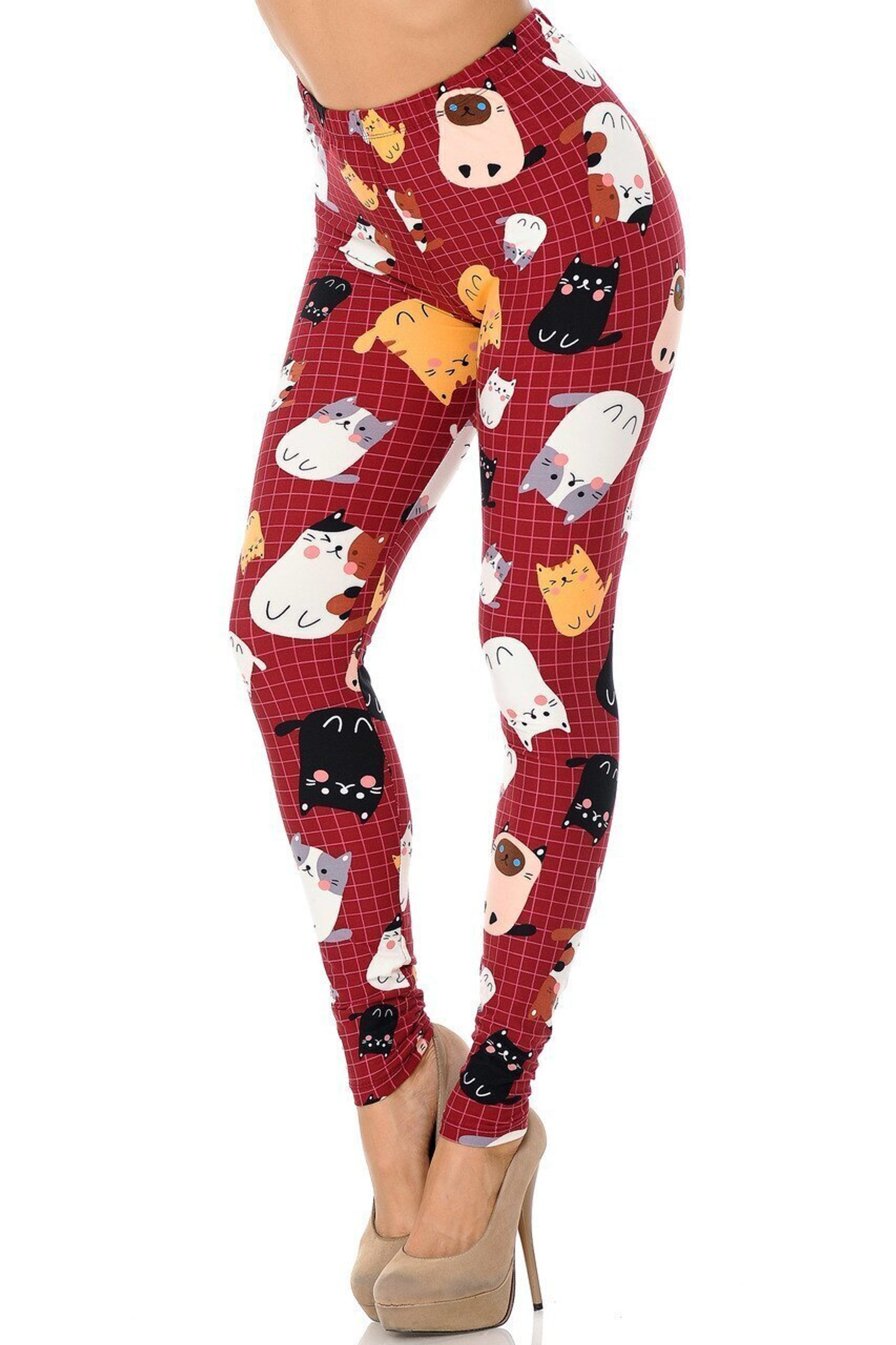Buttery Soft Cartoon Kitty Cats Extra Plus Size Leggings - 3X-5X
