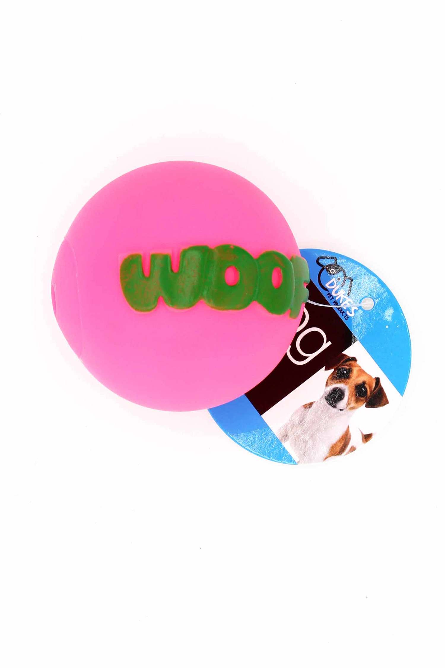 Fuchsia Neon Woof Squeaky Dog Toy with Ruler