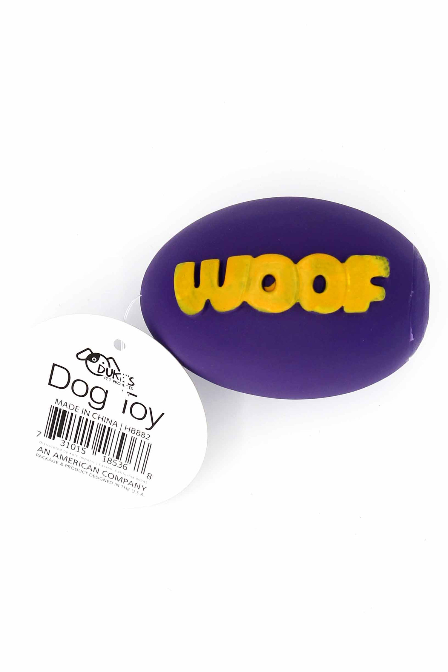 Purple Neon Woof Squeaky Dog Toy with Ruler