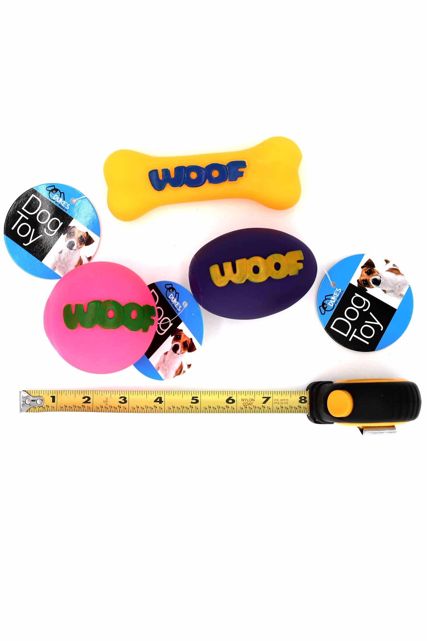 Orange Fuchsia and Purple Neon Woof Squeaky Dog Toy with Ruler