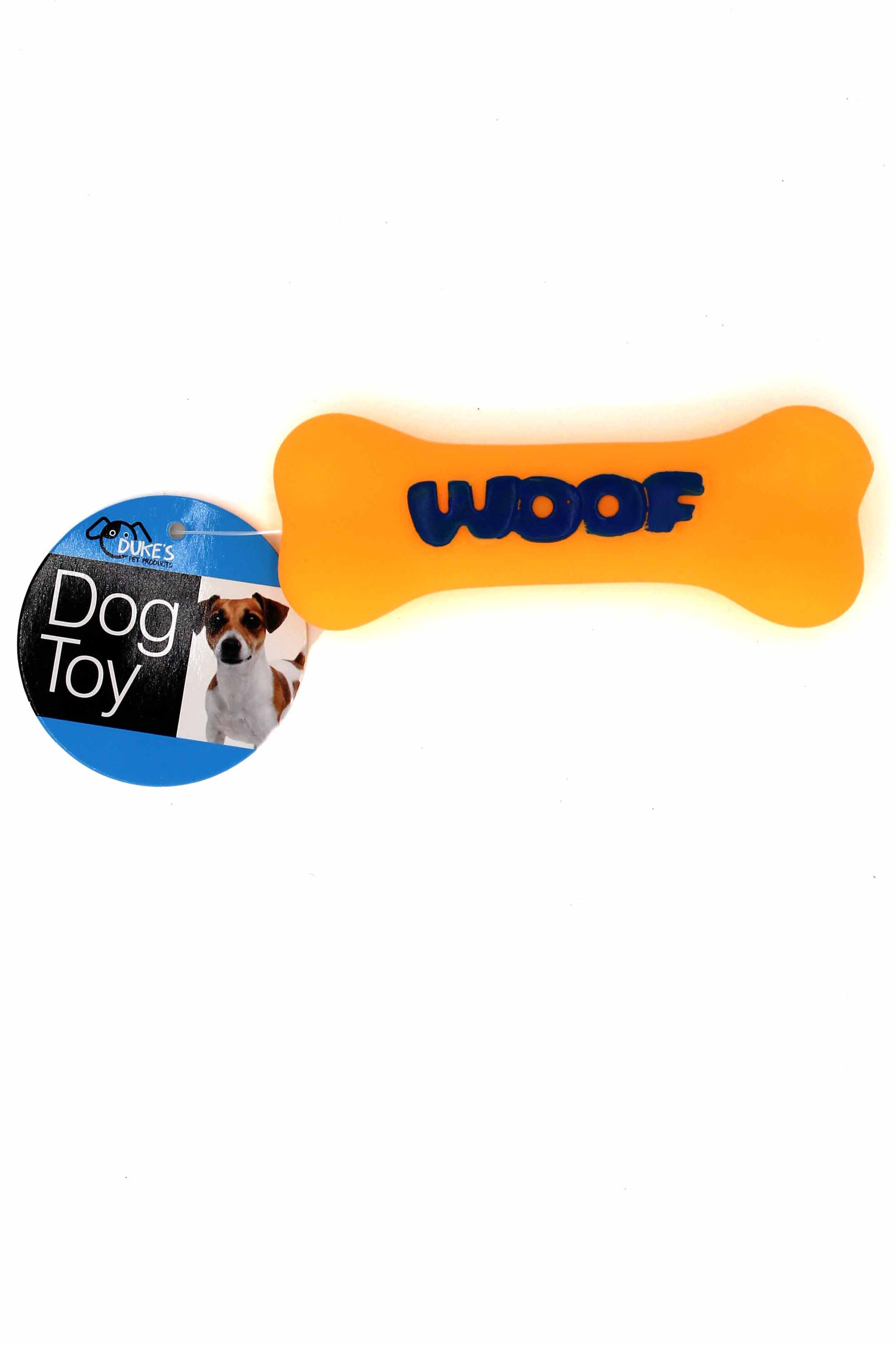 Orange Neon Woof Squeaky Dog Toy with Ruler