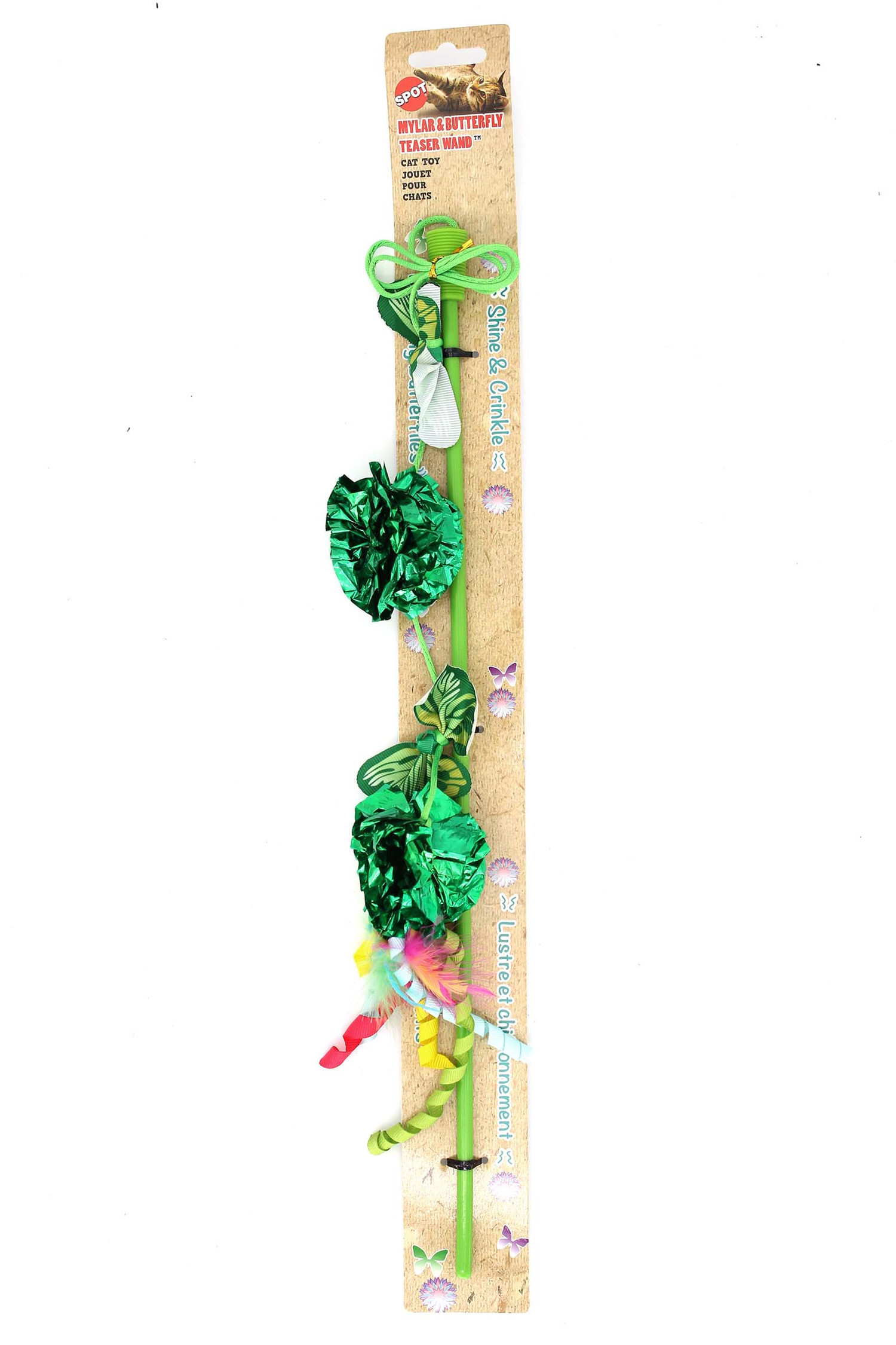 Spot Butterfly and Crinkle Ball Teaser Wand Cat Toy