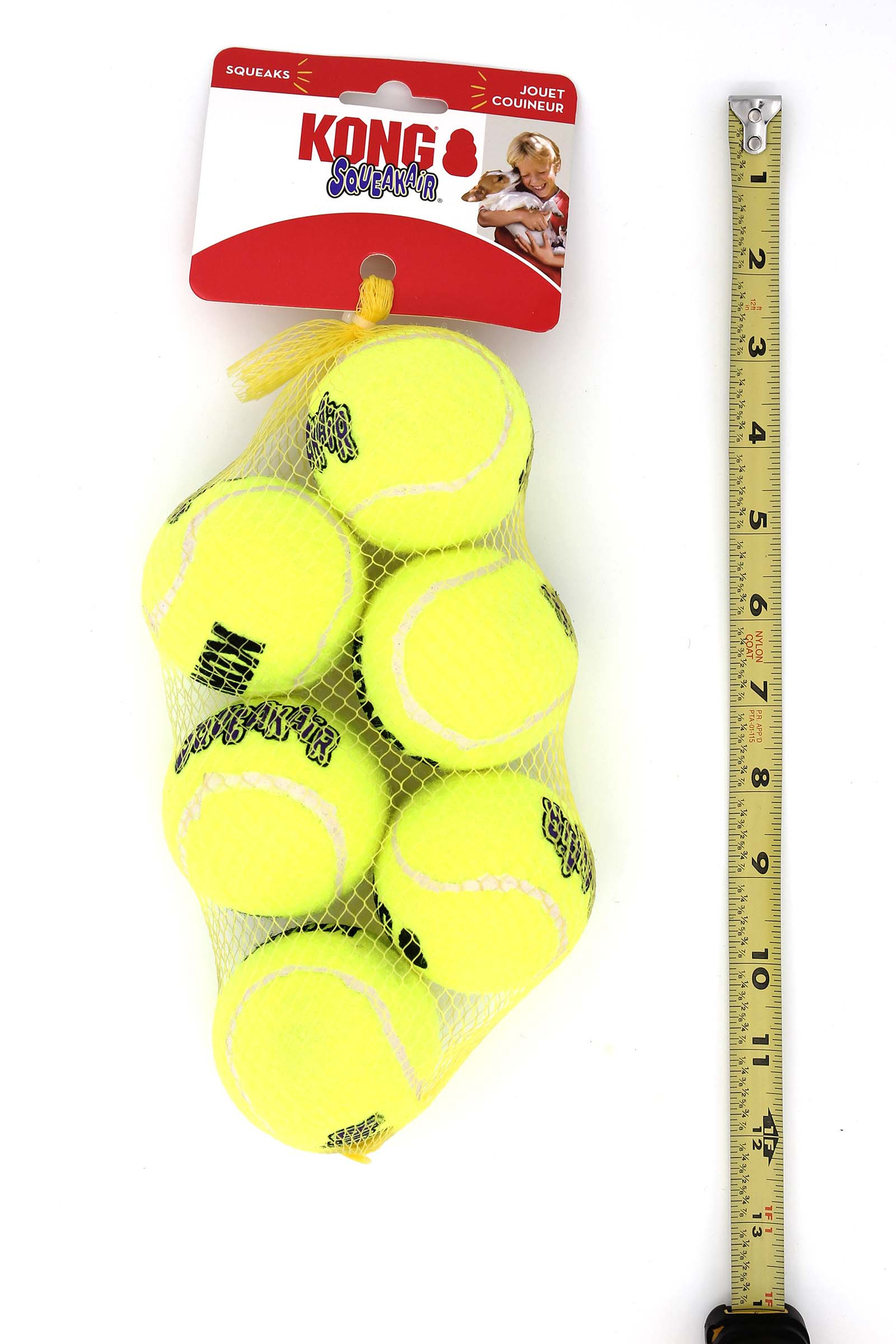 KONG Squeak Air Tennis Ball Dog Toys - 6 Pack - Medium