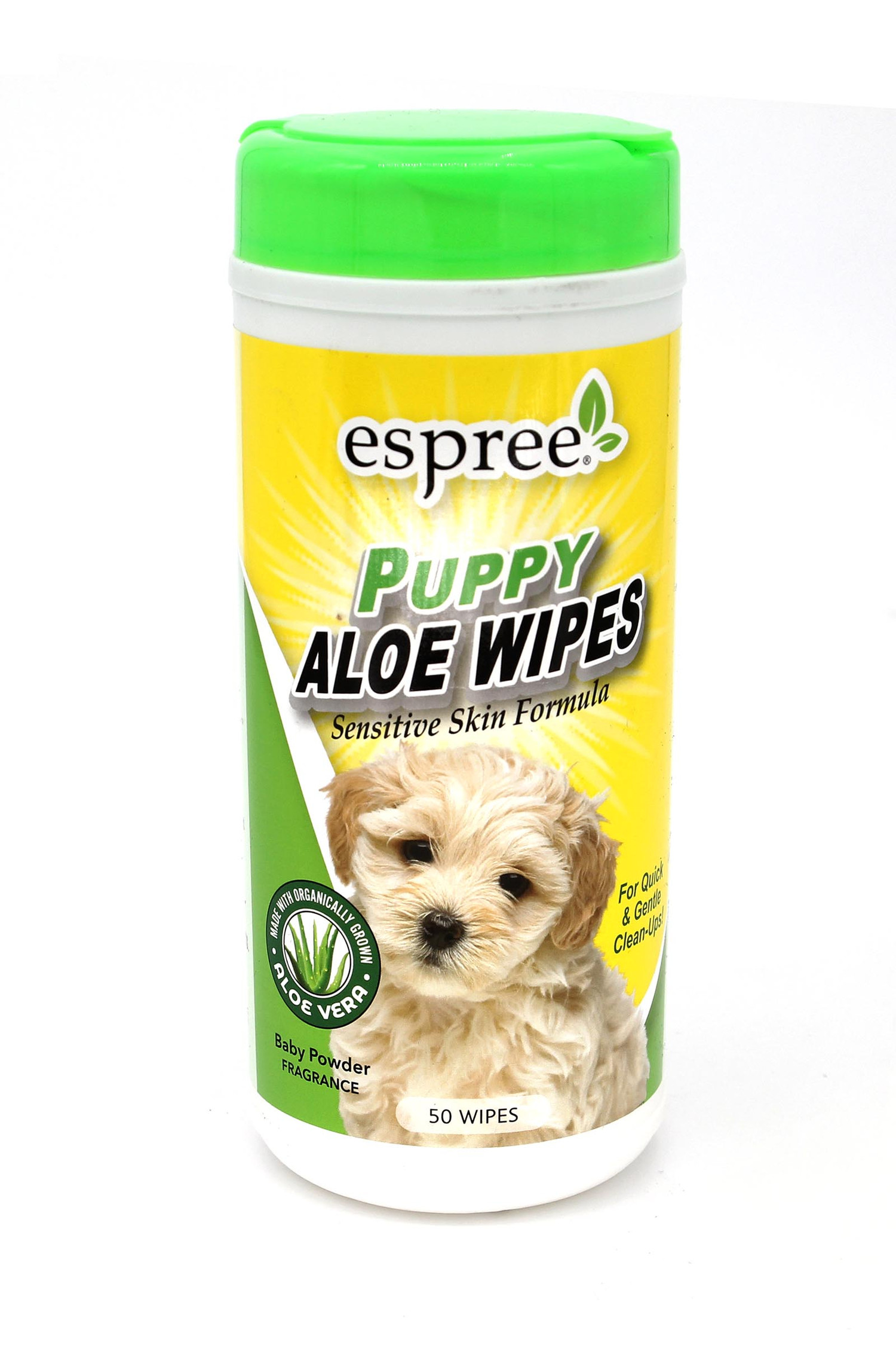 Espree Natural Puppy Dog Cleansing Wipes Made with Organic Aloe Vera - 50 Count - Baby Powder Scented