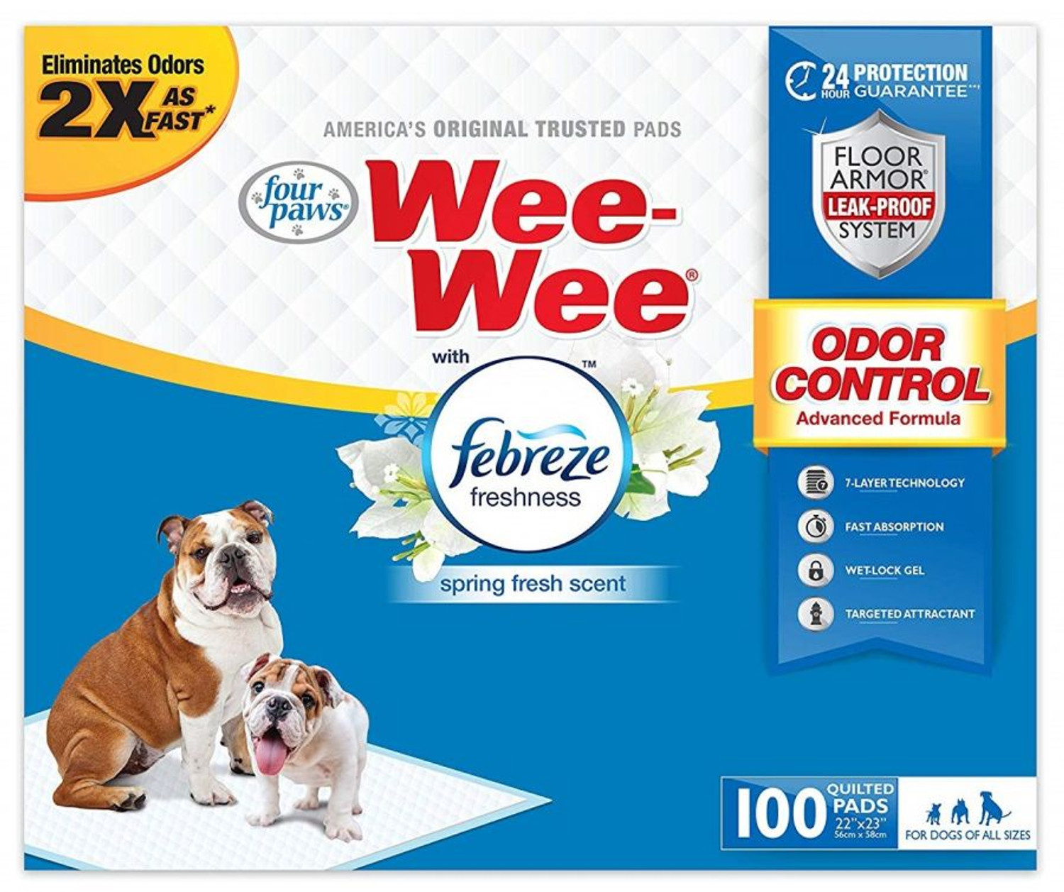 """100 Count Four Paws Wee-Wee Dog Pads with Febreze Freshness - Spring  Fresh Scent - 22"""" x 23"""""""