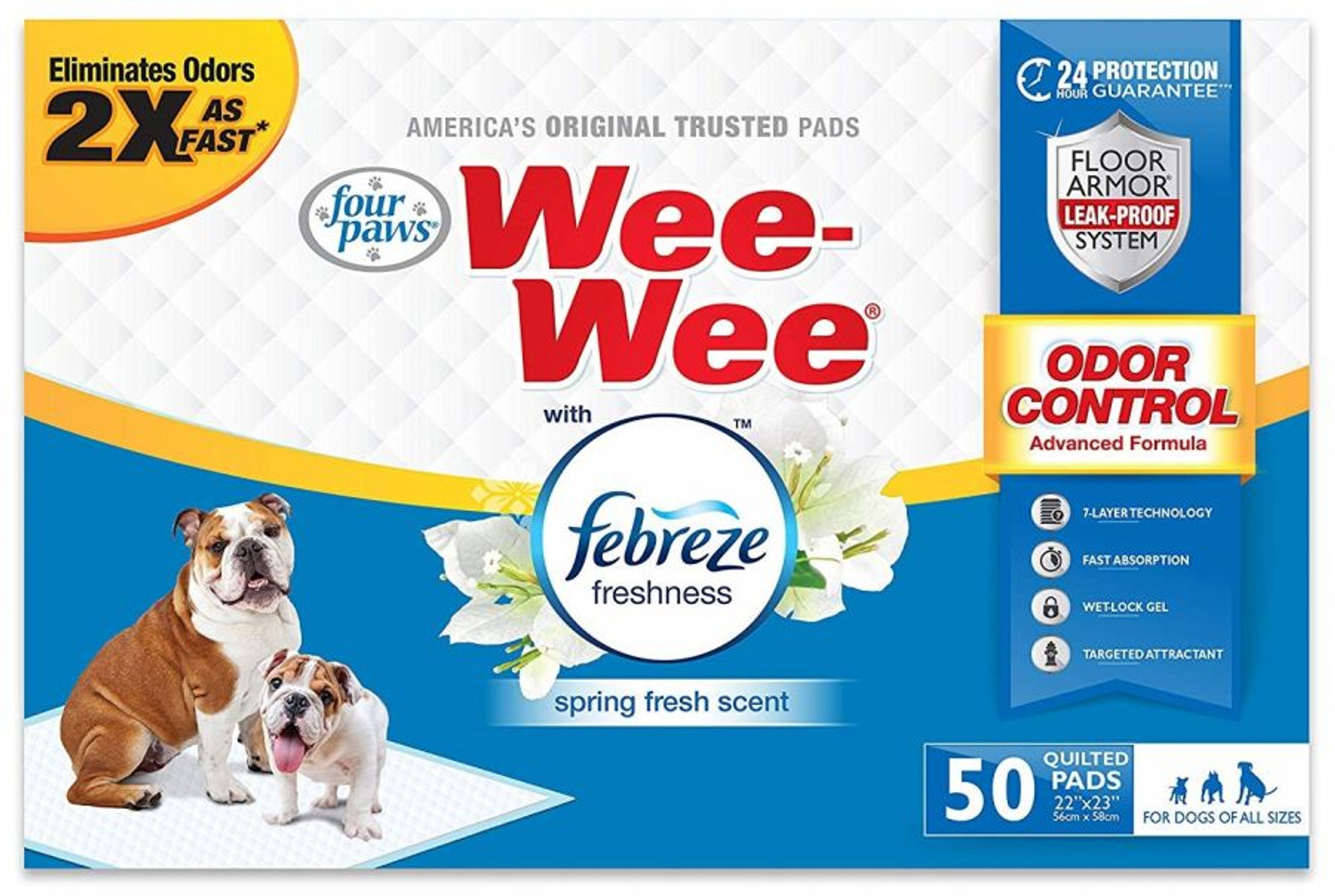"""50 Count Four Paws Wee-Wee Dog Pads with Febreze Freshness - Spring  Fresh Scent - 22"""" x 23"""""""