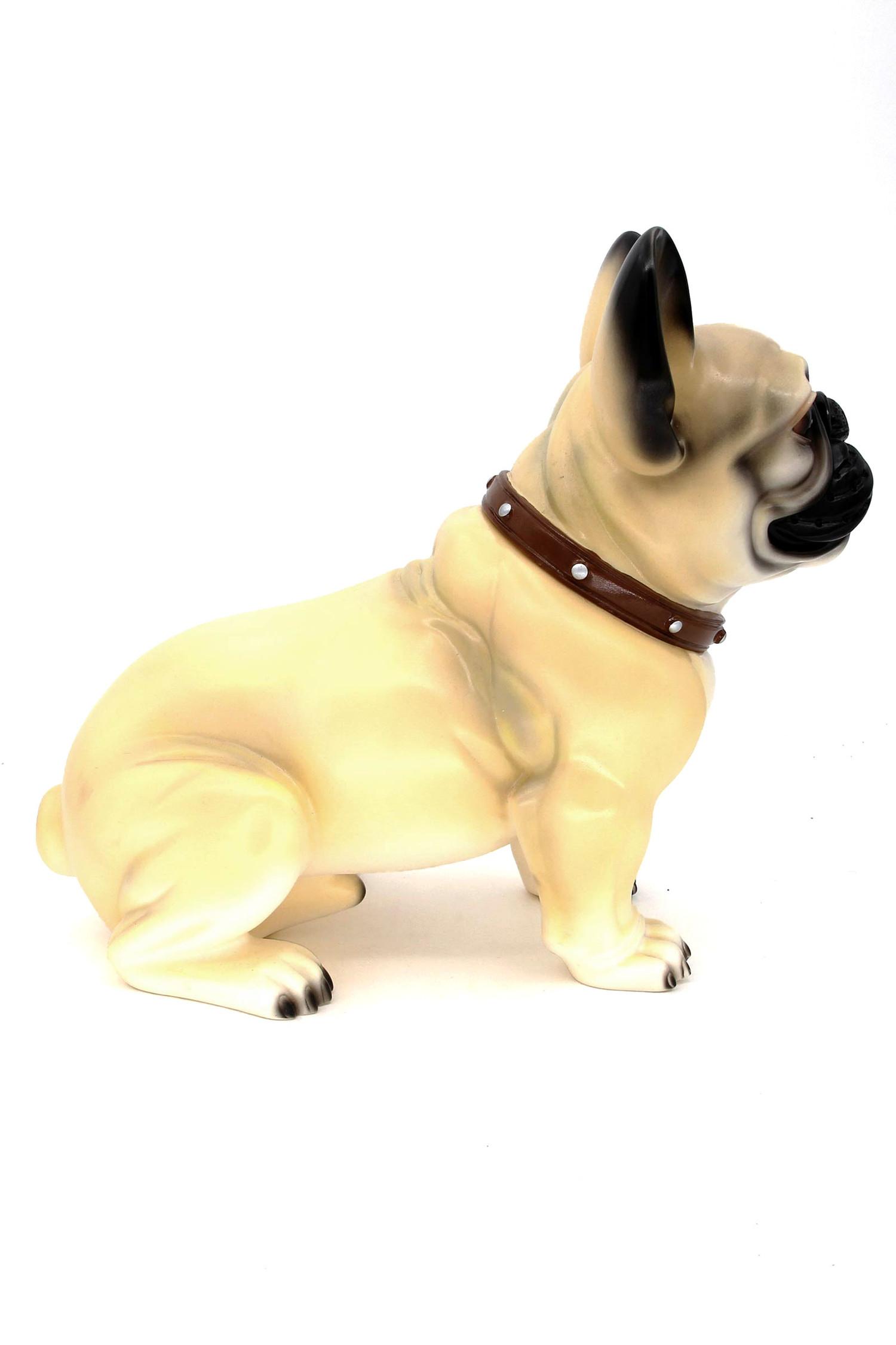Light Tan Bulldog Sitting Life Like Model Effigy