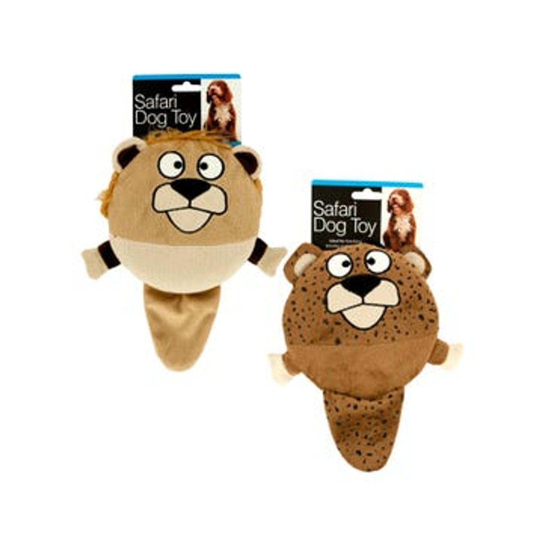 Plush Safari Animal Squeaky Dog Toy with Floppy Tail