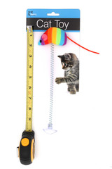 Rainbow Mouse Spring Cat Toy with Suction Cup