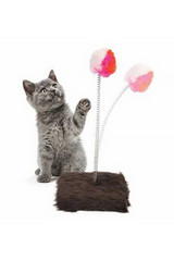 Fuzzy Ball on Spring Cat Toy with Base