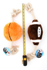 Plush Football and Basket Ball Rope Dog Toy with Ruler