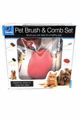 Four Piece Brush and Comb Cat and Dog Grooming Set