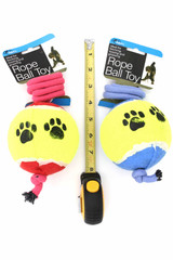 Red and Blue Jumbo Tennis Ball on a Rope Dog Toy with Ruler