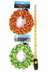 Main Image of Braided Ring Dog Rope Toy both Orange and Green with RUler