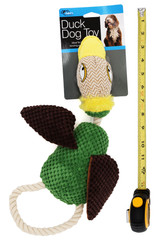 Soft and Squeaky Crinkle Duck Dog Toy with Rope