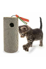 Cylinder Cardboard Cat Scratching Board with Ball and Tassel