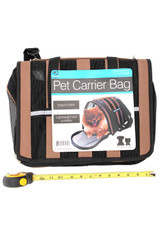 Khaki Soft-Sided Pet Carrier Bag with Mesh Panels and Reflective Stripes