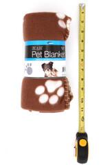 Brown Soft Fleece Paw Print Pet Blanket