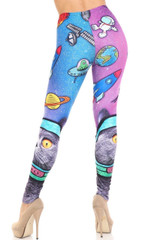 Creamy Soft Space Cat Extra Plus Size Leggings - 3X-5X - USA Fashion™