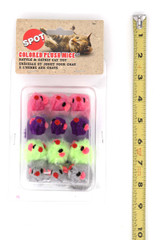Spot Colorful Furry Plush Mice Catnip Cat Toys - 12 Pack