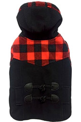Red and Black Buffalo Plaid Hooded Dog Coat with Toggle by Fashion Pet