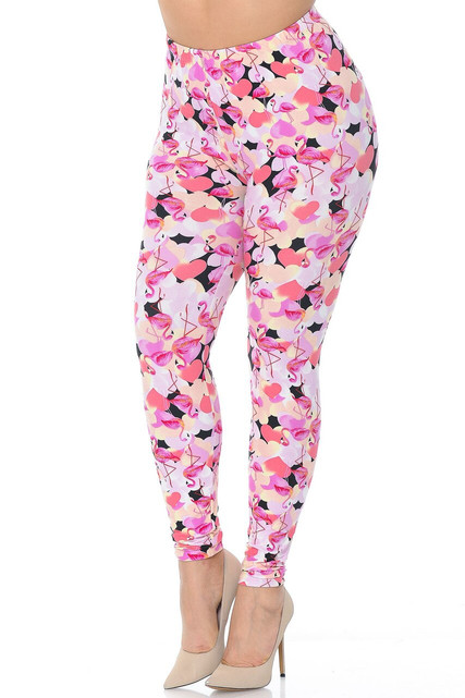 Buttery Soft Gorgeous Pink Flamingos Plus Size Leggings