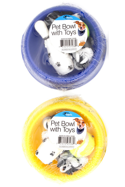 Dog Bowl and Toys Set