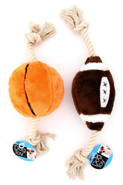 Plush Football and Basketball Rope Dog Toy