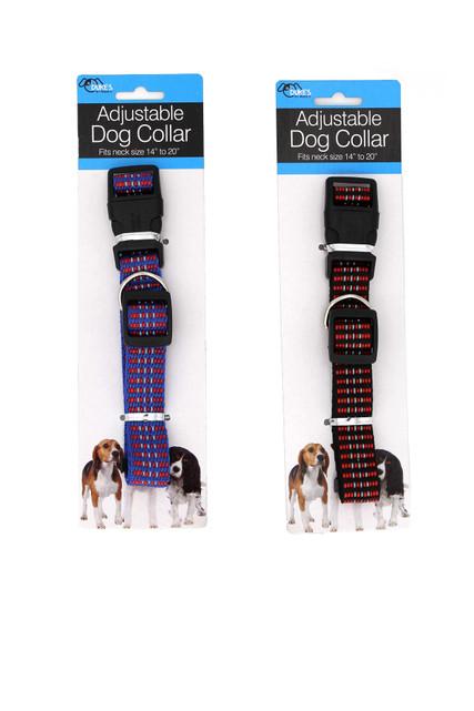 "Adjustable Woven Plaid Style Nylon Dog Collar - 14' - 20"""