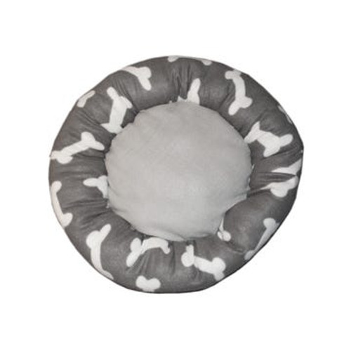 Circular Gray Bone Print Pet Bed for Small/Medium Dogs