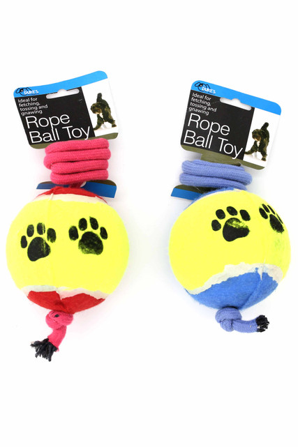 Red and Blue Jumbo Tennis Ball on a Rope Dog Toy