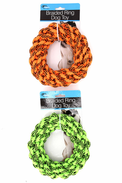 Main Image of Braided Ring Dog Rope Toy both Orange and Green