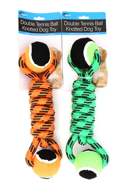Dog Rope Toy  with Two Tennis Balls on Ends