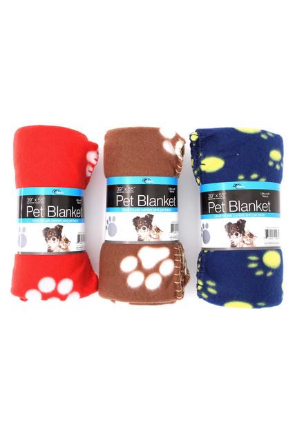 Soft Fleece Paw Print Pet Blanket