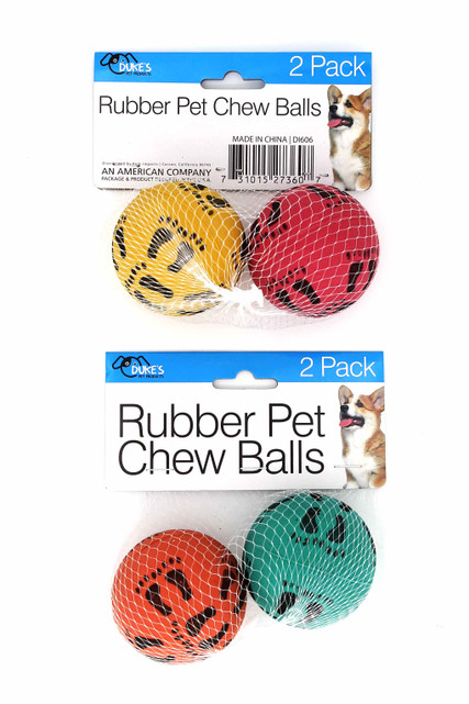 Rubber Ball Dog Chew Toy with Footprint Design - Two Pack