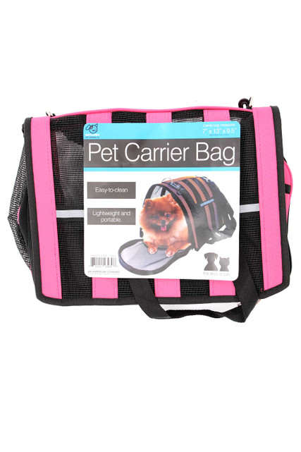 Pink Soft-Sided Pet Carrier Bag with Mesh Panels and Reflective Stripes