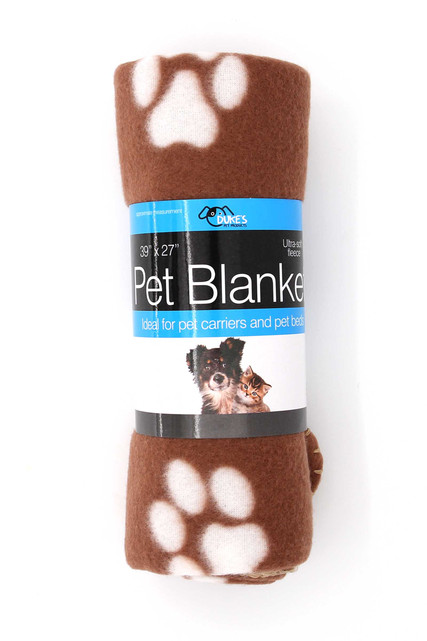 Brown Soft Fleece Paw Print Pet Blanket