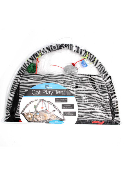 Zebra Print Cat Play Mat with Arch Activity Center