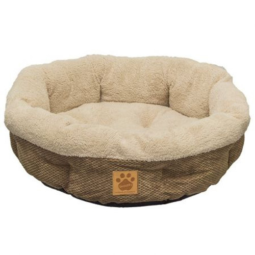 Coffee Shearling Fleece Donut Dog Bed
