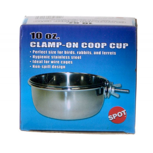 Spot Stainless Steel Coop Cup Pet Bowl with Bolt Clamp