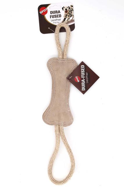 Spot Dura-Fused Leather Bone Tug Dog Toy