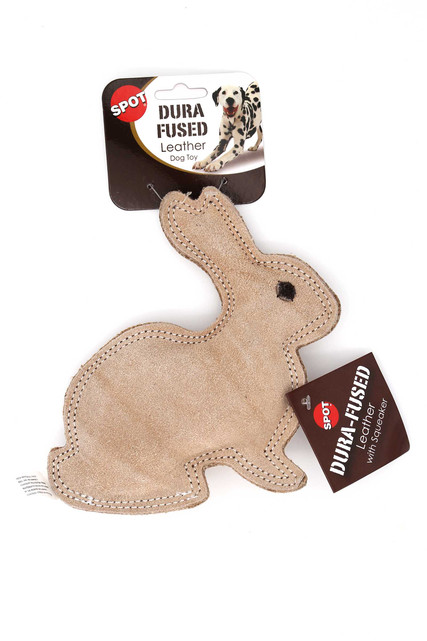 Spot Dura-Fused Leather Rabbit Dog Toy